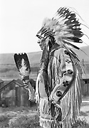 9305-B7384-1.  Chief Tommy Thompson at the Feast of The First Salmon. Celilo Village Long House, Celilo Falls, Columbia River, Oregon, April 16, 1939.