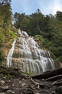 Looking up at Bridal Veil Falls at Bridal Veil Falls Provincial Park in Chilliwack, British Columbia, Canada