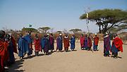 Maasai Warriors gathered in tribal village near the Olduvai Gorge, Tanzania
