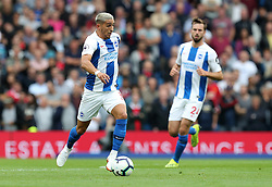 Brighton & Hove Albion's Anthony Knockaert (centre) in action during the Premier League match at the AMEX Stadium, Brighton.