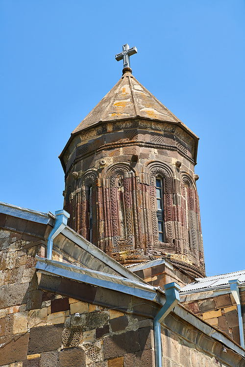 Picture & image of the central cupola of the Cathedral Of Transfiguration, Medieval Georgian Orthodox, 7-9th century,  Ruisi, Georgia.<br /> <br /> A typical Georgian cruciform & cupola church Ruisi Cathedral Of Transfiguration was built by King Vakhtang Gorgasali in a typical 7th century style.