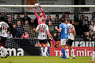Carl Pentney of Maidenhead United saves Brett Pitman of Portsmouth header during the The FA Cup 1st round match between Maidenhead United and Portsmouth at York Road, Maidenhead, United Kingdom on 10 November 2018.