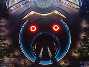 HANGZHOU, CHINA - APRIL 29: (CHINA OUT)<br /> <br />  Aerial view of a music fountain which seems to be a cartoon pig in Qianjiang New Town on April 29, 2016 in Hangzhou, Zhejiang Province of China. The music fountain in Hangzhou\'s Qianjiang New Town opens for the upcoming May Day holiday. <br /> ©Exclusivepix Media