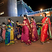 In the evening, at the betrothal ceremony. Women's from the bridegroom's family bring gifts for the bride.