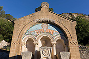 The tombs of François Berlioz 1760-1828 and his family, once the pre-revolution owner of nearby Lagrasse Abbey, on 21st May 2017, in Lagrasse, Languedoc-Rousillon, south of France.  Lagrasse is listed as one of Frances most beautiful villages and lies on the famous Route 20 wine route in the Basses-Corbieres region dating to the 13th century.