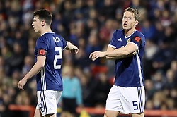 Scotland's Ryan Jack (left) and Christophe Berra wear a poppy armband during the International Friendly match at Pittodrie, Aberdeen. PRESS ASSOCIATION Photo. Picture date: Thursday November 9, 2017. See PA story SOCCER Scotland. Photo credit should read: Andrew Milligan/PA Wire. RESTRICTIONS: Use subject to Scottish FA restrictions. Editorial use only. Commercial use only with prior written consent of the Scottish FA. No editing except cropping.
