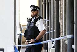 © Licensed to London News Pictures. 01/07/2020. London, UK. Police guard the outside a block of flats in Monarch Parade in Mitcham, south London after a four year old girl was found seriously injured yesterday. She was taken to hospital where she later died. A woman, aged 35, is fighting for her life after she was also found suffering serious injuries inside the property. Photo credit: Peter Macdiarmid/LNP