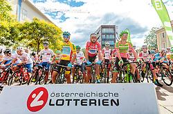 03.07.2017, Wien, AUT, Ö-Tour, Österreich Radrundfahrt 2017, 1. Etappe von Graz nach Wien (193,9 km), im Bild Oscar Gatto (ITA, Astana Pro Team), Markus Eibegger (AUT, Team Felbermayr Simplon Wels), William Clarke (AUS, Cannondale Drapac Professional Cycling Team) // during the 1st stage from Graz to Vienna (193,9 km) of 2017 Tour of Austria. Wien, Austria on 2017/07/03. EXPA Pictures © 2017, PhotoCredit: EXPA/ JFK