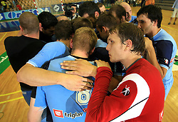 Team Slovenia (R: Aljosa Rezar, David Spiler) after handball game between men national teams of Slovenia and Slovakia, first qualification game for the World Chamionship 2009, on June 7, 2008, in Arena Zlatorog, Celje, Slovenija. Result: 33 : 33. (Photo by Vid Ponikvar / Sportal Images)