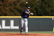 CARY, NC - FEBRUARY 23: Monmouth's Max Goione. The Monmouth University Hawks played the Saint John's University Red Storm on February 23, 2018 on Field 2 at the USA Baseball National Training Complex in Cary, NC in a Division I College Baseball game. St John's won the game 3-0.