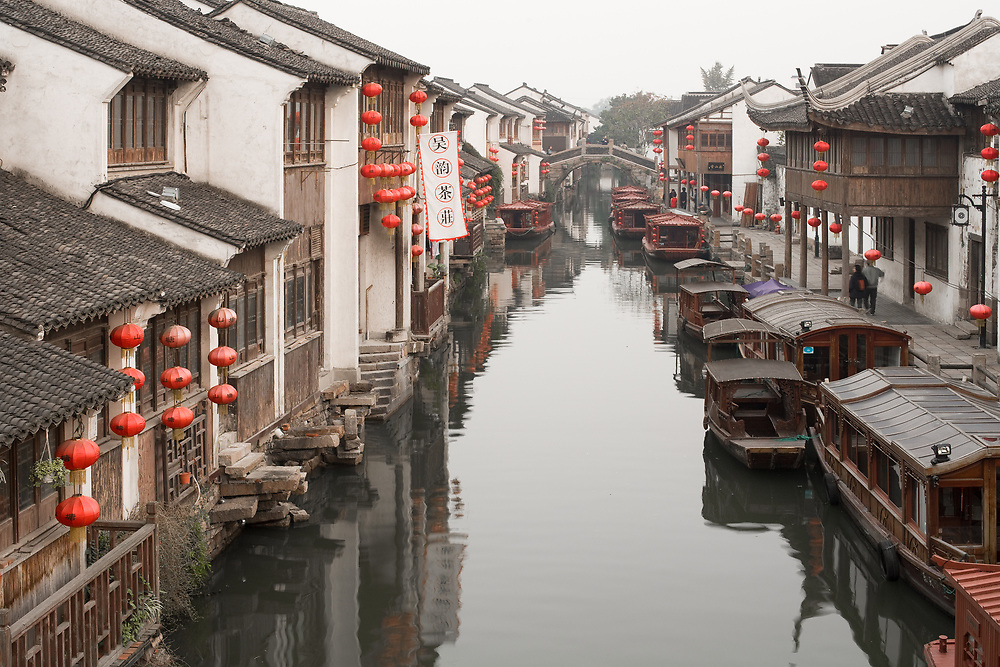 Suzhou, Jiangsu Province, China - Traditional houses and canal.