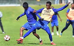 Cape Town-180823- Cape Town City player Teko Modise challenged  by temmate Mpho Matsi at training preparing for their up comingMTN 8 semi-final against Sundowns at Cape Town Stadum.Photographer :Phando Jikelo/African News Agency/ANA
