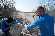 Stonemason Mitja Kobal and son Dane, building a dry stone wall in the village of Kosovelje, Kras (Karst) region, Slovenia © Rudolf Abraham