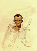 A Hottentot Man from the book Travels into the interior of southern Africa : in which are described the character and the condition of the Dutch colonists of the Cape of Good Hope, and of the several tribes of natives beyond its limits : the natural history of such subjects as occurred in the animal, mineral and vegetable kingdoms; and the geography of the southern extremity of Africa : comprehending also a topographical and statistical sketch of Cape Colony; with an inquiry into its importance as a naval and military station, as a commercial emporium; as a territorial possession By Sir John Barrow, and illustrated by Samuel Daniell Published in London in 1806