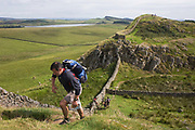 A wlker climbs steep path on Roman Emperor Hadrian's Wall, once the northern frontier of Rome's empire from Barbarian tribes. Hadrian's Wall (Latin: Vallum Aelium) was a stone and timber fortification built by the Roman Empire across the width of what is now northern England. Begun in AD 122, during the rule of emperor Hadrian, it was built as a military fortification though gates through the wall served as customs posts to allow trade and levy taxation. The 4.5m high Wall was 80 Roman miles (73.5 miles, 117km) long and so important was it to secure its length that up to 10% of the Roman army total force were stationed here. Tough walkers generally take 7 days to trek its coast-to-coast length.