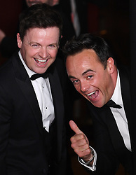 Declan Donnelly and Ant McPartlin in the press room during the Virgin Media BAFTA TV awards, held at the Royal Festival Hall in London. Photo credit should read: Doug Peters/EMPICS