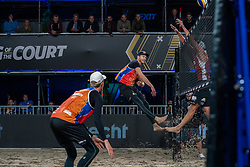 Alexander Brouwer, Robert Meeuwsen in action during the first day of the beach volleyball event King of the Court at Jaarbeursplein on September 9, 2020 in Utrecht.
