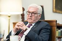 02 JUL 2018, BERLIN/GERMANY:<br /> Frank-Walter Steinmeier, Bundespraesident, waehrend einem Interview, Amtszimmer des Bundespraesidenten, Schloss Bellevue<br /> IMAGE: 20180702-01-050<br /> KEYWORDS: Bundespräsident