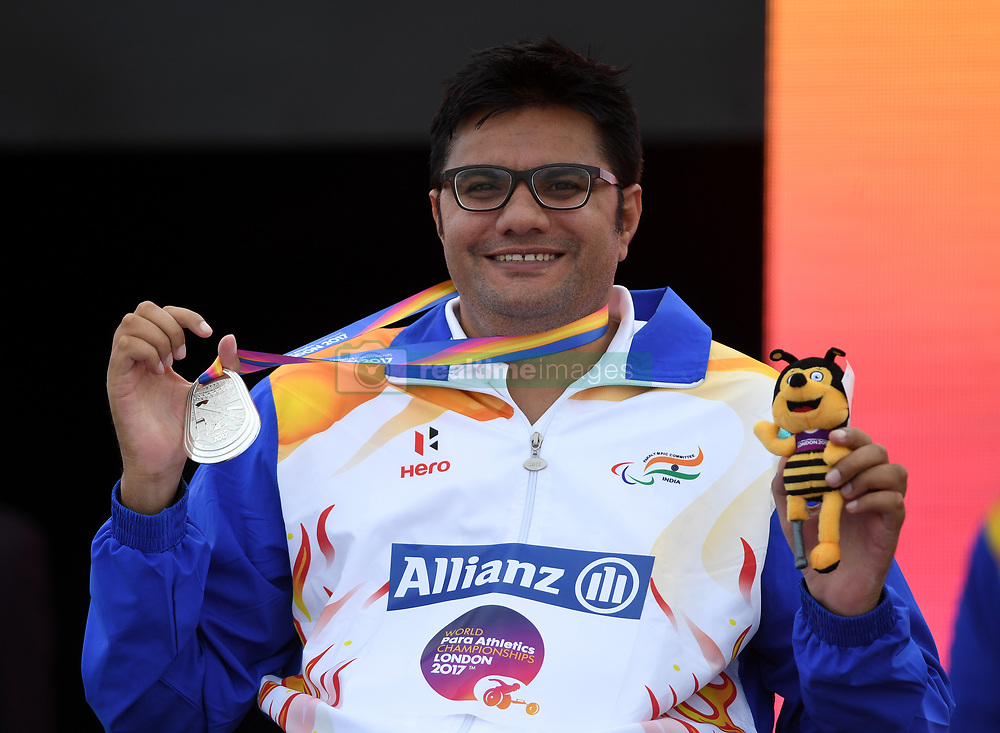India's Amit Kumar Kumar with his silver medal in the Men's Club Throw F51 during day four of the 2017 World Para Athletics Championships at London Stadium. PRESS ASSOCIATION Photo. Picture date: Monday July 17, 2017. See PA story ATHLETICS Para. Photo credit should read: Victoria Jones/PA Wire. RESTRICTIONS: Editorial use only. No transmission of sound or moving images and no video simulation.