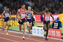 August 8, 2017 - London, England, United Kingdom - ConseslusKIPRUTO, Kenya, in front of SoufianeELBAKKALI, Marocco, during 3000 meter steeple chase finals in London at the 2017 IAAF World Championships athletics on August 8, 2017  (Credit Image: © Ulrik Pedersen/NurPhoto via ZUMA Press)