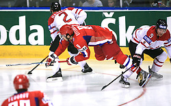 Alexander Ovechkin (8) of Russia between Dan Hamhuis (2) of Canada and Derek Roy (9) of Canada at  ice-hockey game Canada vs Russia at finals of IIHF WC 2008 in Quebec City,  on May 18, 2008, in Colisee Pepsi, Quebec City, Quebec, Canada. Win of Russia 5:4 and Russians are now World Champions 2008. (Photo by Vid Ponikvar / Sportal Images)