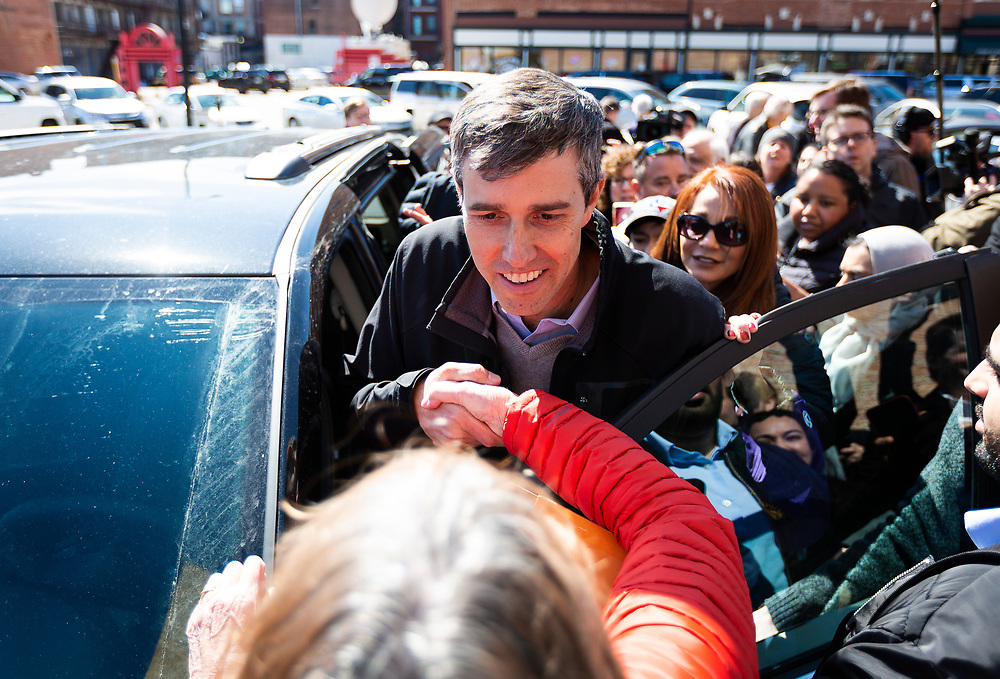 Democratic 2020 presidential candidate Beto O'Rourke, 46, shakes hands with a supporter during a three day road trip across Iowa, in Waterloo, Iowa, U.S., March 16, 2019.  REUTERS/Ben Brewer