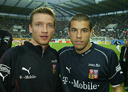 TEPLICE, CZECH REPUBLIC - Wednesday, April 30, 2003: Czech Republic's and Liverpool's Vladimir Smicer (l) and Milan Baros pictured before a friendly match against Turkey at the Teplice Stadion Na Stinadlech. (Pic by David Rawcliffe/Propaganda)