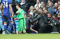 Football - 2016 / 2017 Premier League - Manchester City vs. Chelsea<br /> <br /> Cesc Fàbregas of Chelsea is pushed into the crowd during an incident in the match at The Ethiad.<br /> <br /> COLORSPORT/LYNNE CAMERON