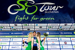 Aleksandr Vlasov (RUS) of Gazprom - Rusvelo celebrates in blue jersey at trophy ceremony after 3rd Stage of 26th Tour of Slovenia 2019 cycling race between Zalec and Idrija (169,8 km), on June 21, 2019 in Slovenia. Photo by Matic Klansek Velej / Sportida