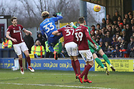 AFC Wimbledon striker Lyle Taylor (33) with a chance during the EFL Sky Bet League 1 match between AFC Wimbledon and Northampton Town at the Cherry Red Records Stadium, Kingston, England on 10 February 2018. Picture by Matthew Redman.