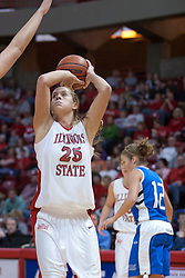 26 February 2006:  Holly Hallstrom steps back from the traffic to get off a shot.....Illinois State Redbirds out muscled the Creighton Bluejays on Senior day by a score of 75-61.  Senior Holly Hallstorm grabbed her 10th double double with 20 points and 12 rebounds.  Competition took place at Redbird Arena on Illinois State University campus in Normal Illinois.