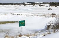 ZANDVOORT - Winter 2021. De Kennemer G&CC in de sneeuw. Putting Green Closed.  COPYRIGHT  KOEN SUYK