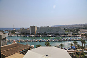 Israel, Eilat Beach, hotel strip. Hotels in the background