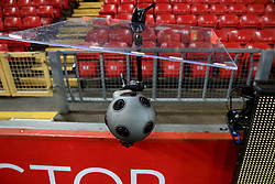 """A camera pitchside before the Emirates FA Cup, fourth round match at Anfield, Liverpool. PRESS ASSOCIATION Photo. Picture date: Saturday January 27, 2018. See PA story SOCCER Liverpool. Photo credit should read: Peter Byrne/PA Wire. RESTRICTIONS: EDITORIAL USE ONLY No use with unauthorised audio, video, data, fixture lists, club/league logos or """"live"""" services. Online in-match use limited to 75 images, no video emulation. No use in betting, games or single club/league/player publications."""