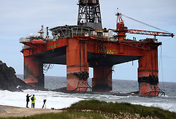 File photo dated 09/08/16 of the Transocean Winner drilling rig, seen off the coast of the Isle of Lewis after it ran aground, as the owners have paid about £400,000 to the Maritime and Coastguard Agency (MCA).