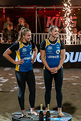 vlnr Emi van Driel, Mexime van Driel during the ceremony on the last day of the beach volleyball event King of the Court at Jaarbeursplein on September 12, 2020 in Utrecht.