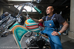 "Aki Sakamoto on his 1968 HD XLCH Ironhead ""KAU'I"" just before Grand Entry to the Mooneyes Yokohama Hot Rod & Custom Show. Yokohama, Japan. December 6, 2015.  Photography ©2015 Michael Lichter."