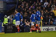 Portsmouth Players Celebrate after Portsmouth Forward, Brett Pitman (8) scores a goal 1-0 during the EFL Sky Bet League 1 match between Portsmouth and Southend United at Fratton Park, Portsmouth, England on 18 November 2017. Photo by Adam Rivers.