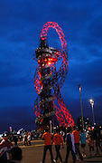 UK, August 6 2012: Night time view of the Orbit from Olympic Park on Day 10 of the London 2012 Olympic Games. Copyright 2012 Peter Horrell.