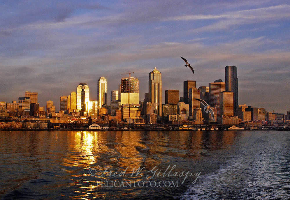 Seattle Skyline From Puget Sound at Sunset
