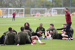 Arsenal's Strength and Conditioning coach Julen Masach (right) during the training session at London Colney.