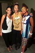 September 22, 2012- Los Angeles, CA:  (L-R) Recording Artist Goapelle and DJ Eque and Lesbian Hiphop Recording Artist Medusa backstage at the Lyricist Lounge 20th Year Reunion Party-Los Angeles held at Club Nokia at LA Live on September 22, 2012 in Los Angeles, California. The Lyricist Lounge is a hip hop showcase of rappers, emcees, DJ's, and Graffiti artists. It was founded in 1991 by hip hop aficionados Danny Castro and Anthony Marshall. It was a series of open mic events hosted in a small studio apartment in the Lower East Side section of New York City. (Terrence Jennings)