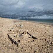 Abandoned sandcastle, Abererch Sands, Gwynedd.