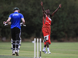 Maasai Warriors' cricket team play against Notts & Arnold Amateur CC's during their UK tour to raise awareness of gender inequality, the End FGM Campaign, hate crime, modern slavery, conservation and promoting their culture and country, Kenya