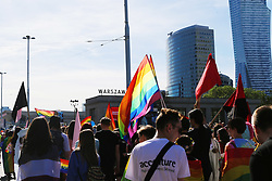 June 3, 2017 - Warsaw, Poland - Thousands of people from across Poland and Europe took part in the Warsaw Pride parade, also known as the ''Equality Parade''. People marched in Warsaw, demanding equality for everyone in the LGBQT community, as well as sharply condemning intolerance and the stigmatization of homosexual and transgender persons in Poland and across the world.  The parade's organizers described the parade as a huge pro-tolerance movement in Eastern Europe. The parade has been held every year since 2001. (Credit Image: © Anna Ferensowicz/Pacific Press via ZUMA Wire)