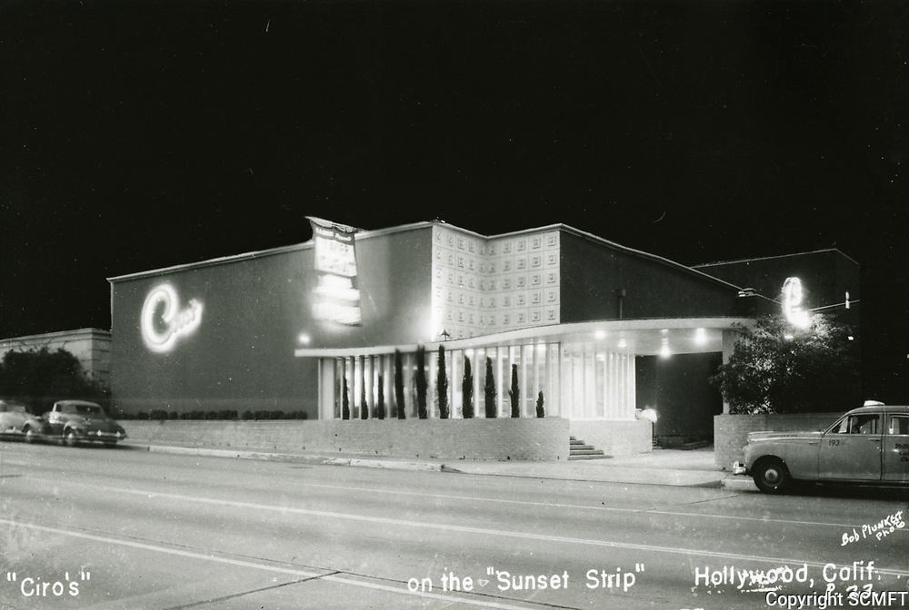 1942 Ciro's Nightclub on Sunset Blvd. in West Hollywood