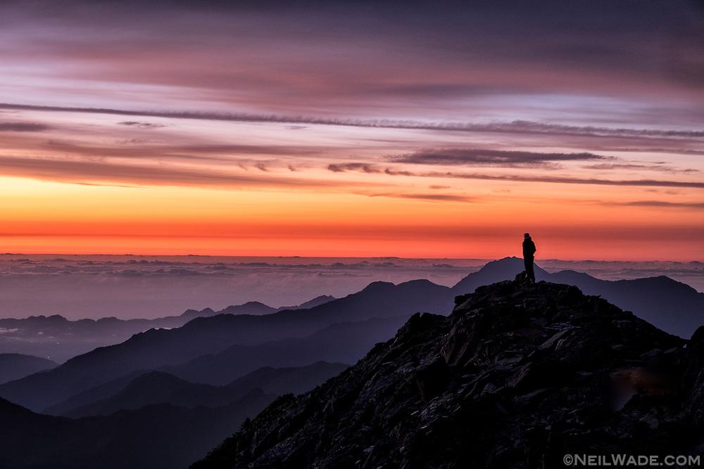 A peaceful sunrise on Taiwan's highest mountain, Yushan (Jade Mountain).