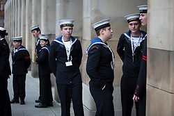© Licensed to London News Pictures . 01/07/2016 . Manchester , UK .  Gathering at St Peter's Square by the Cenotaph . Somme100 events in Manchester City Centre to commemorate the 100th anniversary of the first day of the Battle of the Somme . Photo credit : Joel Goodman/LNP