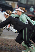 Putney, London, Varsity, Tideway Week, 3rd April 2019, Abigail PARKER, centre, helping to push the coaches launch up the Embankment, Start of the Oxford Cambridge Media week, Championship Course,<br /> [Mandatory Credit: Peter SPURRIER], Wednesday,  03.04.19,