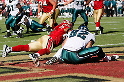 12 Oct 2008: Philadelphia Eagles tight end L.J. Smith #82 catches a pass in the endzone during the game against the San Francisco 49ers on October 12th, 2008. The Eagles won 40-26 at Candlestick Park in San Francisco, California. (Photo by Brian Garfinkel) (Photo by Brian Garfinkel)